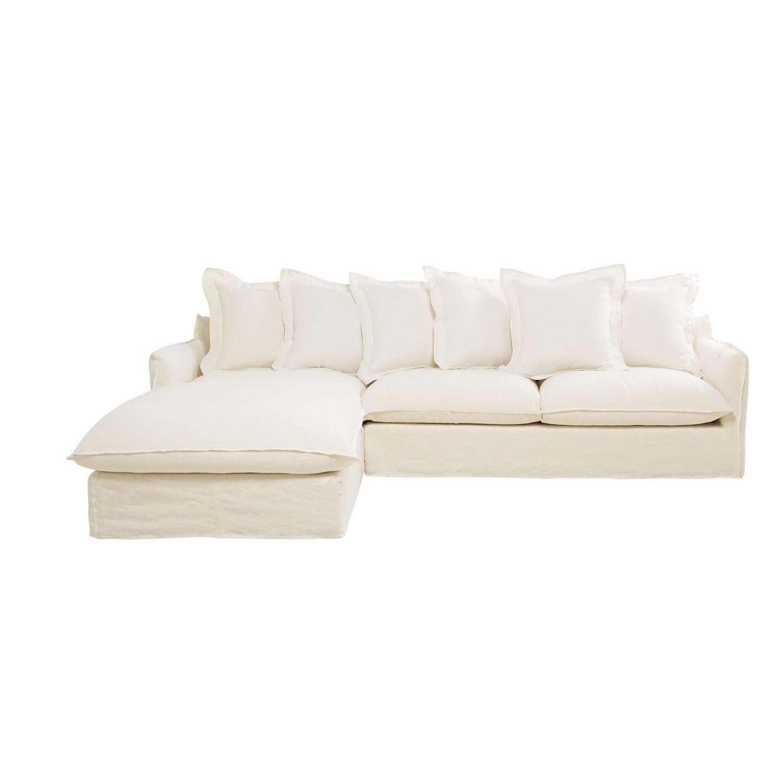 White 6 Seater Washed Linen Left Hand Corner Sofa Barcelone Maisons Du Monde