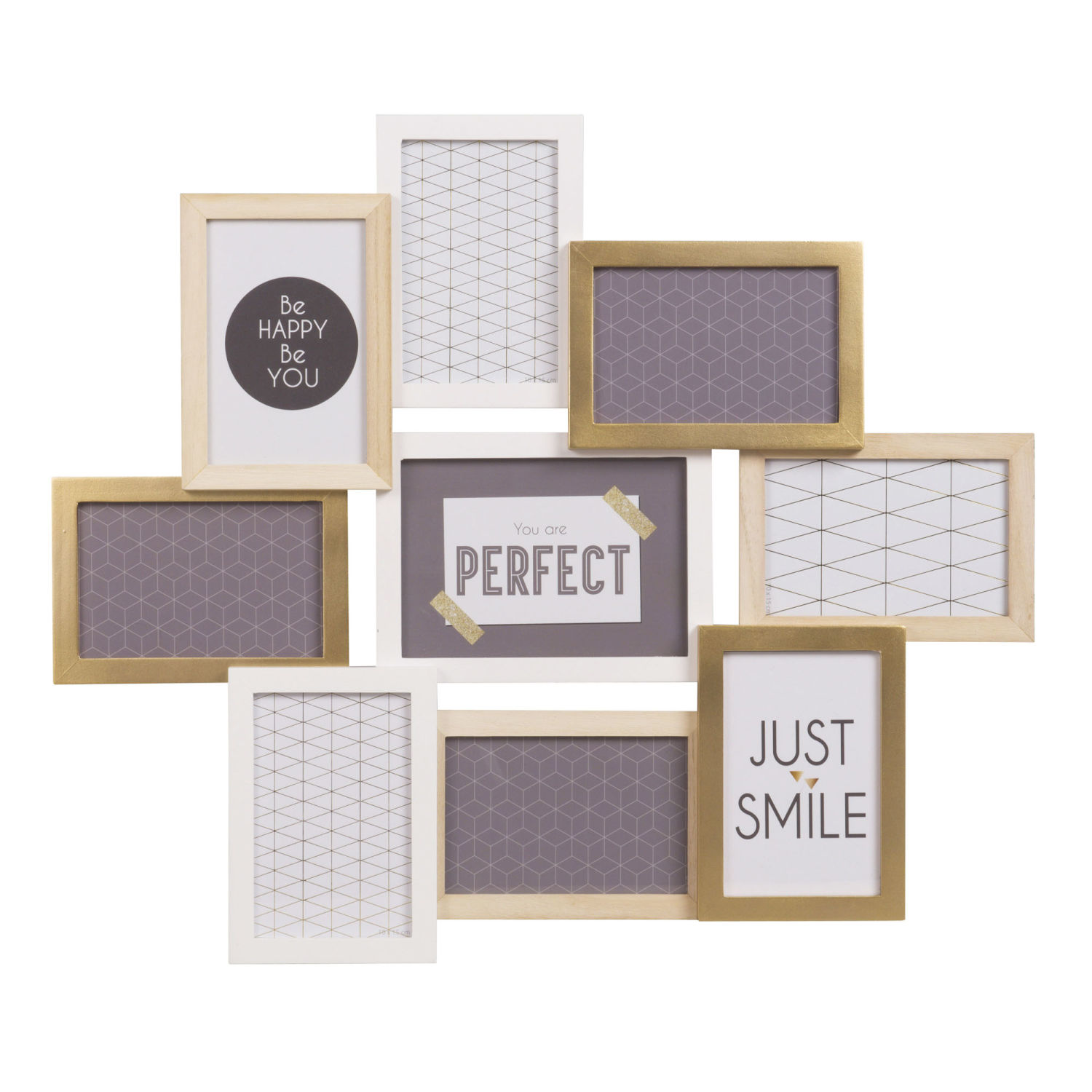 White and Gold 9 Multi-aperture Photo Frame 59 x 50 cm Relief ...