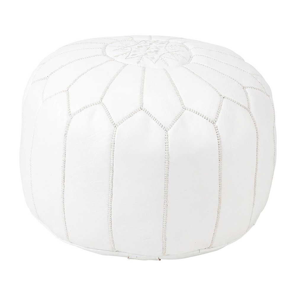 white leather moroccan ottoman marrakech marrakech maisons du monde. Black Bedroom Furniture Sets. Home Design Ideas