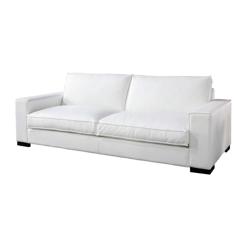 white leather sofa seats 3 4 munich munich maisons du monde. Black Bedroom Furniture Sets. Home Design Ideas