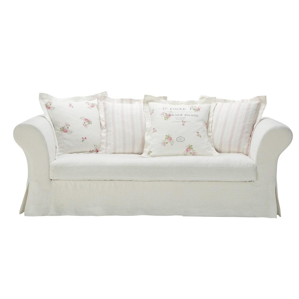 white linen sofa seats 3 4 shabby shabby maisons du monde. Black Bedroom Furniture Sets. Home Design Ideas