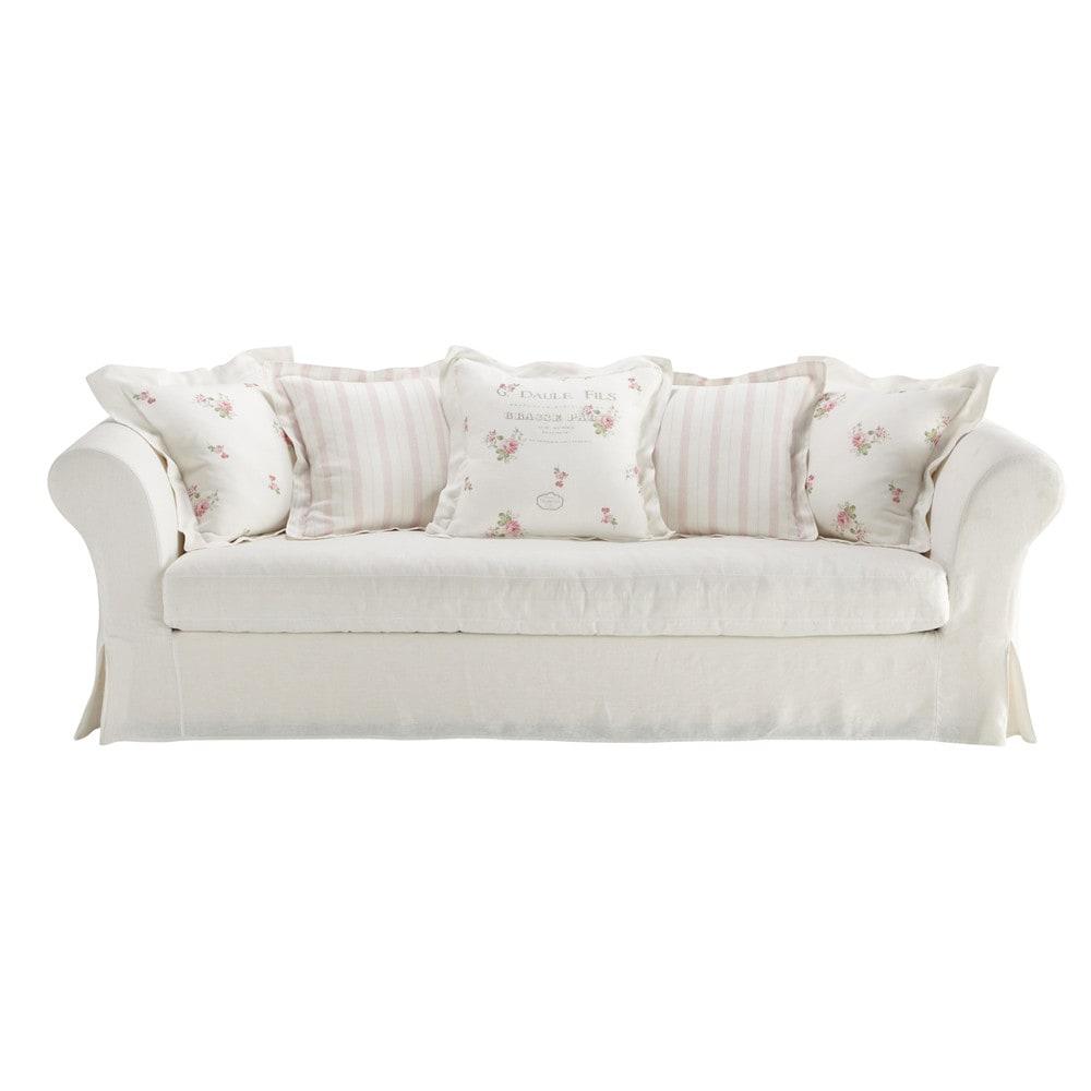 white linen sofa seats 5 shabby shabby maisons du monde. Black Bedroom Furniture Sets. Home Design Ideas