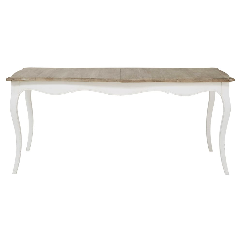 White Mango Wood Dining Table With Extension L 180cm