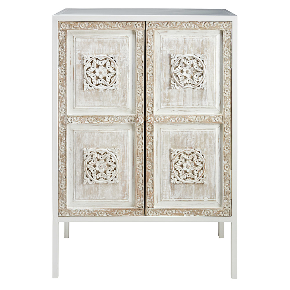 white metal and sculpted mango wood sideboard mambok maisons du monde. Black Bedroom Furniture Sets. Home Design Ideas