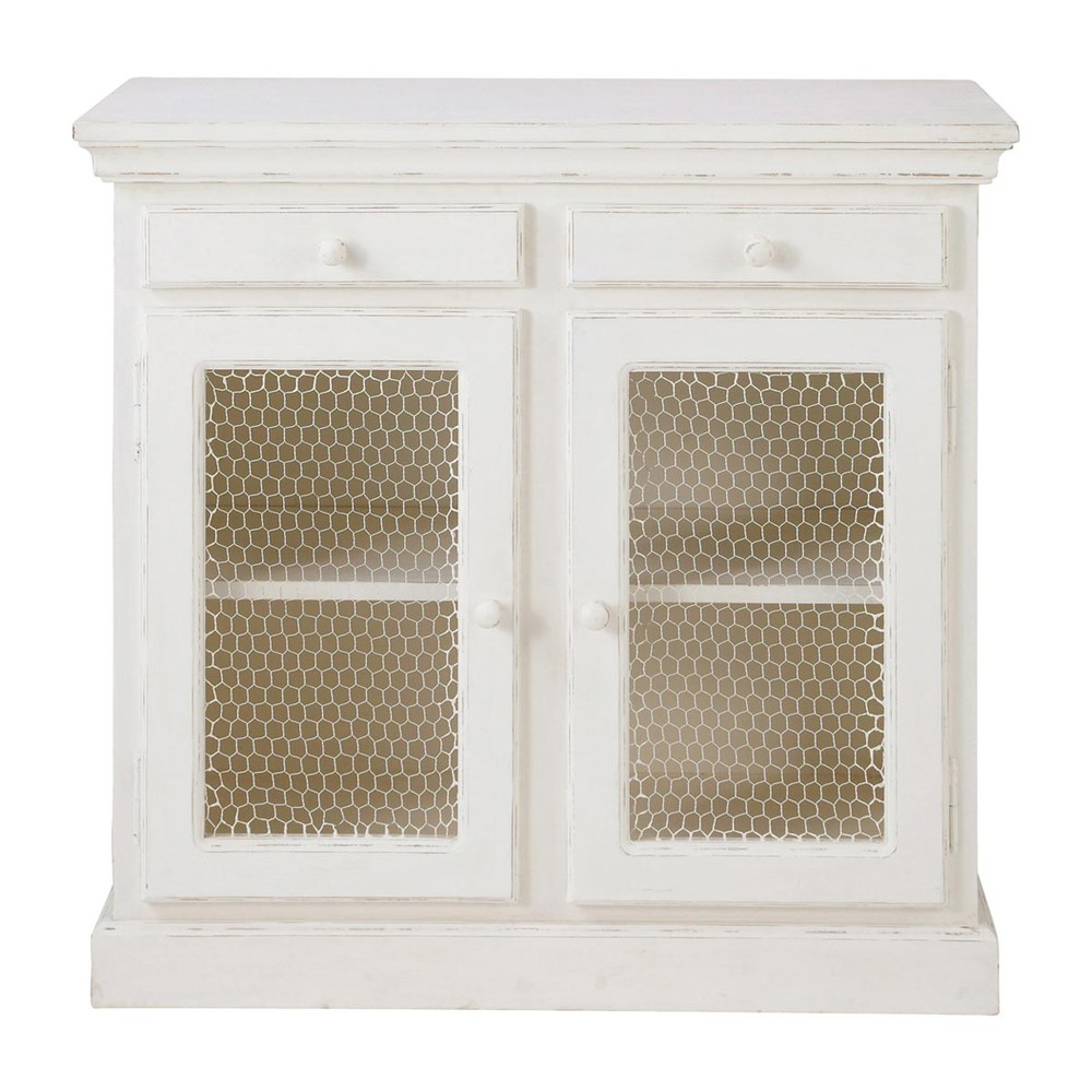 white pantry cupboard with mesh doors shabby shabby maisons du monde. Black Bedroom Furniture Sets. Home Design Ideas