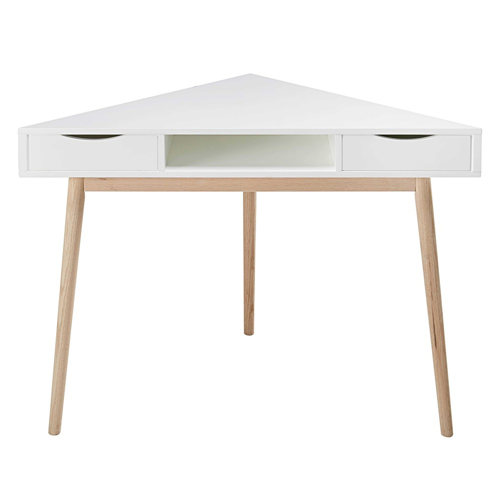 white vintage corner desk artic maisons du monde