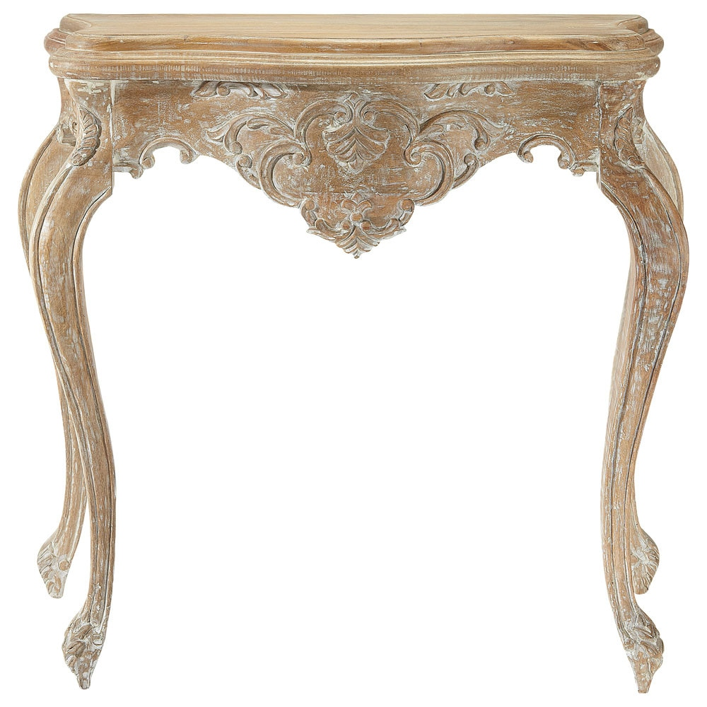 Whitewashed mango wood console table in distressed finish w 86cm neuilly ma - Maison du monde tables ...