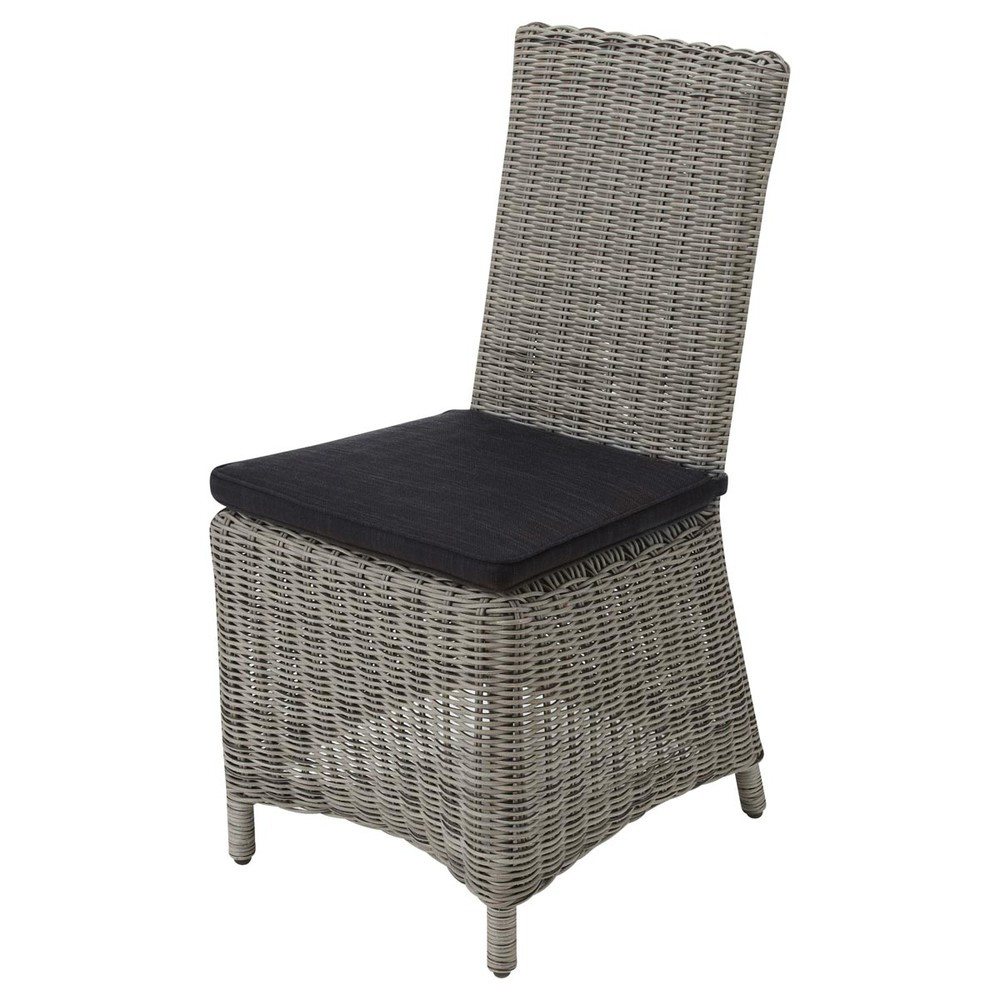 Wicker and fabric garden chair cushion in charcoal grey for Jardin wicker