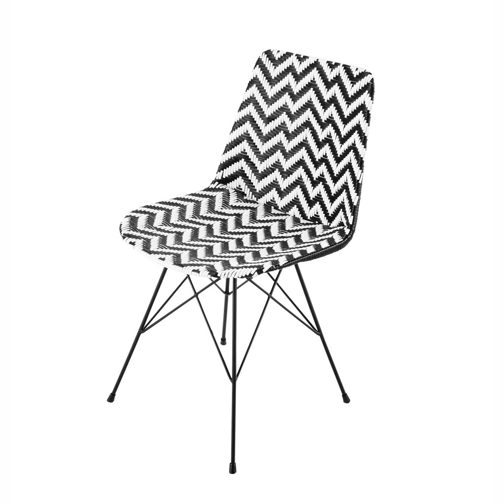 wicker and metal chair in black white zigzag maisons du monde. Black Bedroom Furniture Sets. Home Design Ideas