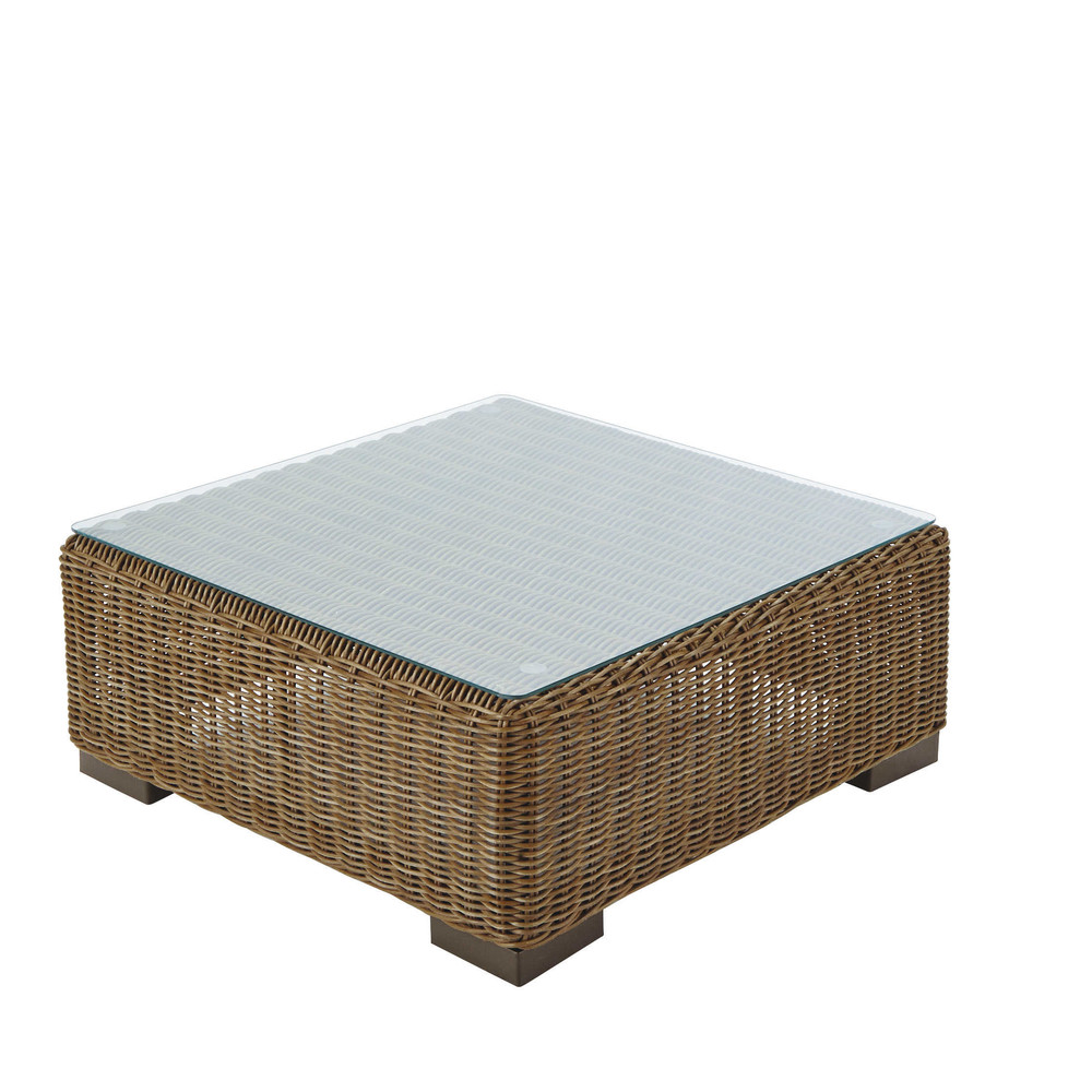 Wicker And Tempered Glass Garden Coffee Table W 77cm Fidji Maisons Du Monde