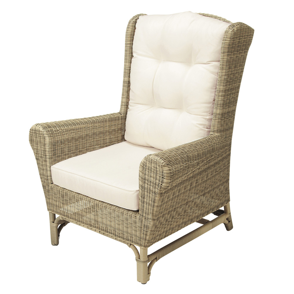 Wicker garden wing chair Saint Raphaël