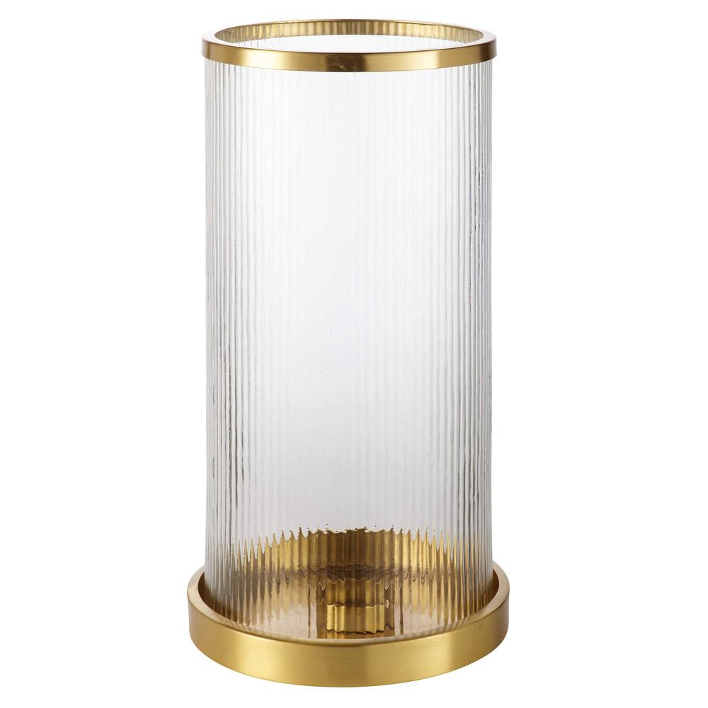 windlicht aus glas und goldfarbenem metall kelton maisons du monde. Black Bedroom Furniture Sets. Home Design Ideas