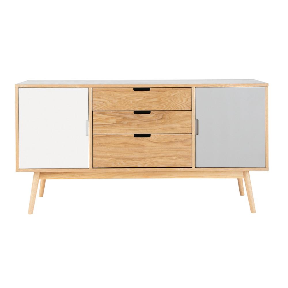 Wit en grijs houten vintage dressoir b 145 cm fjord for Consoles maison du monde