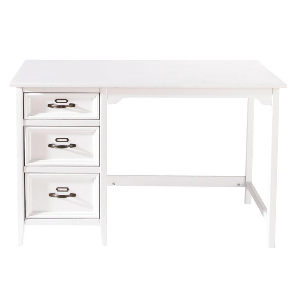 Wit houten bureau b 120 cm aurelien maisons du monde for Bureau 120 cm