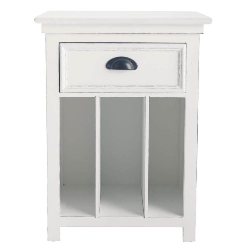... Huislinnen-special › Wit houten nachtkastje met lade B 45 cm NEWPORT