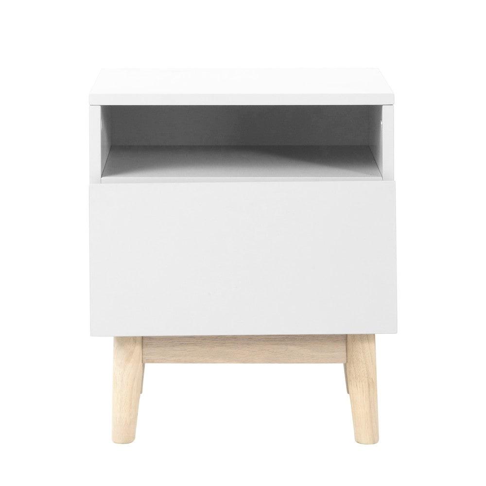 ... › Nachtkastjes › Wit houten vintage nachtkastje B 40 cm ARTIC