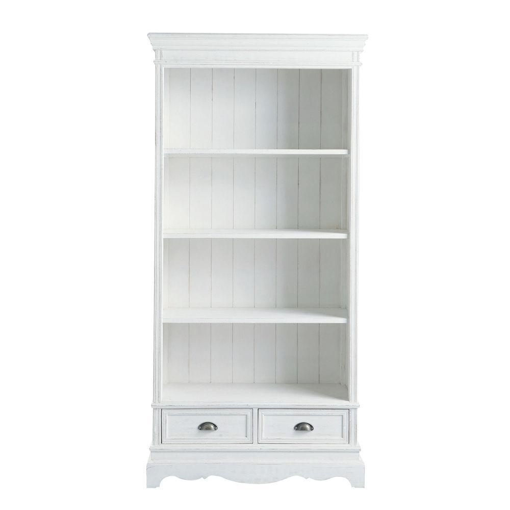 witte boekenkast met 2 laden josphine maisons du monde