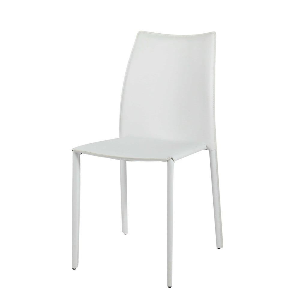 Witte gerecycleerd leren en houten stoel klint maisons for Witte leren stoelen