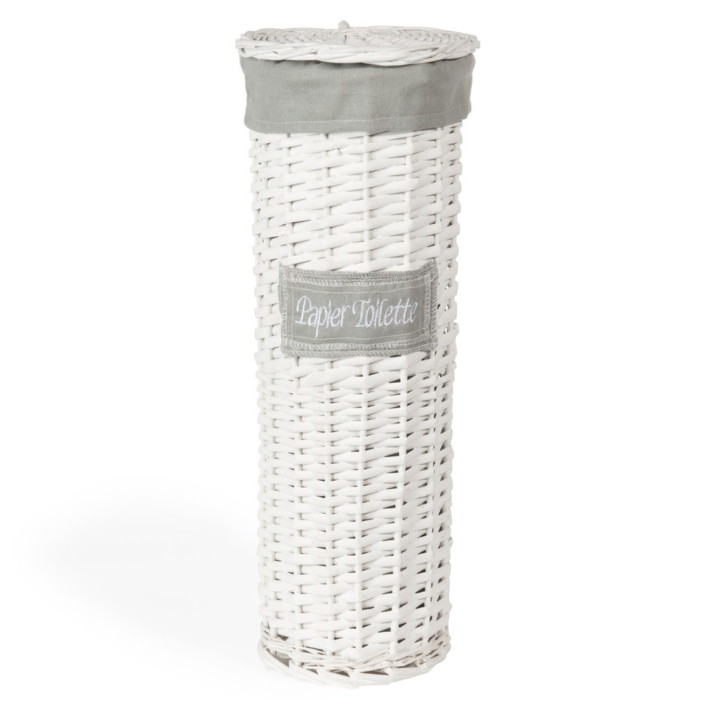 witte gevlochten mand voor toiletpapier h 47 cm maisons du monde. Black Bedroom Furniture Sets. Home Design Ideas