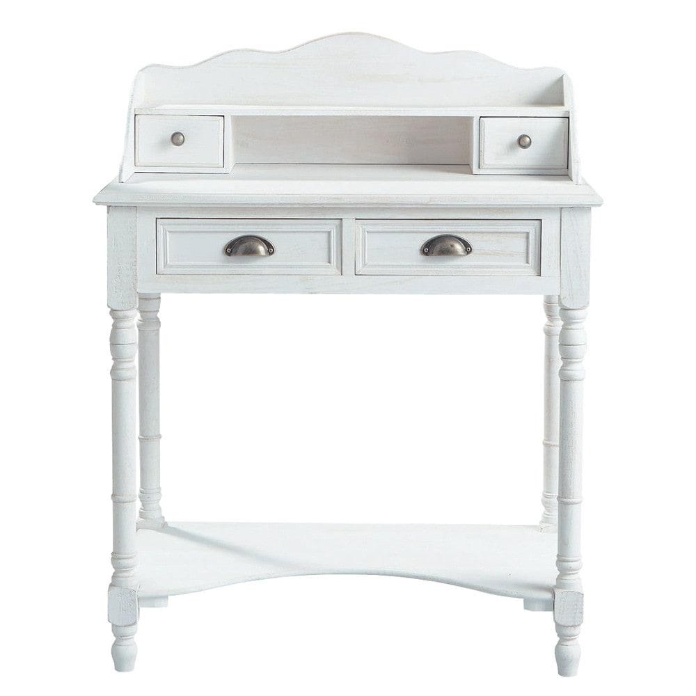 ... en secretaires › Witte houten schrijftafel B 80 cm JOSÉPHINE