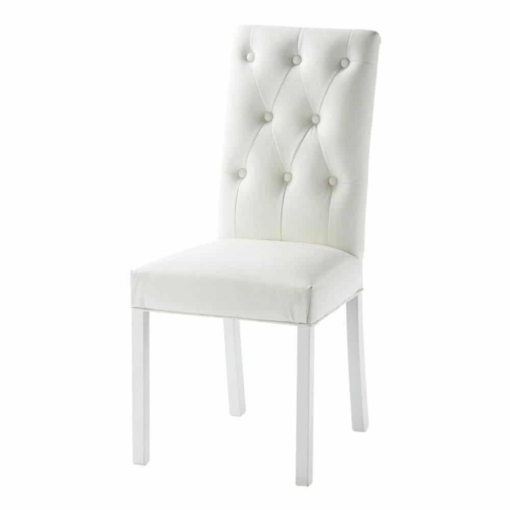 Witte imitatieleren en houten gestoffeerde stoel elizabeth maisons du monde - Smeedijzeren stoel en houten ...