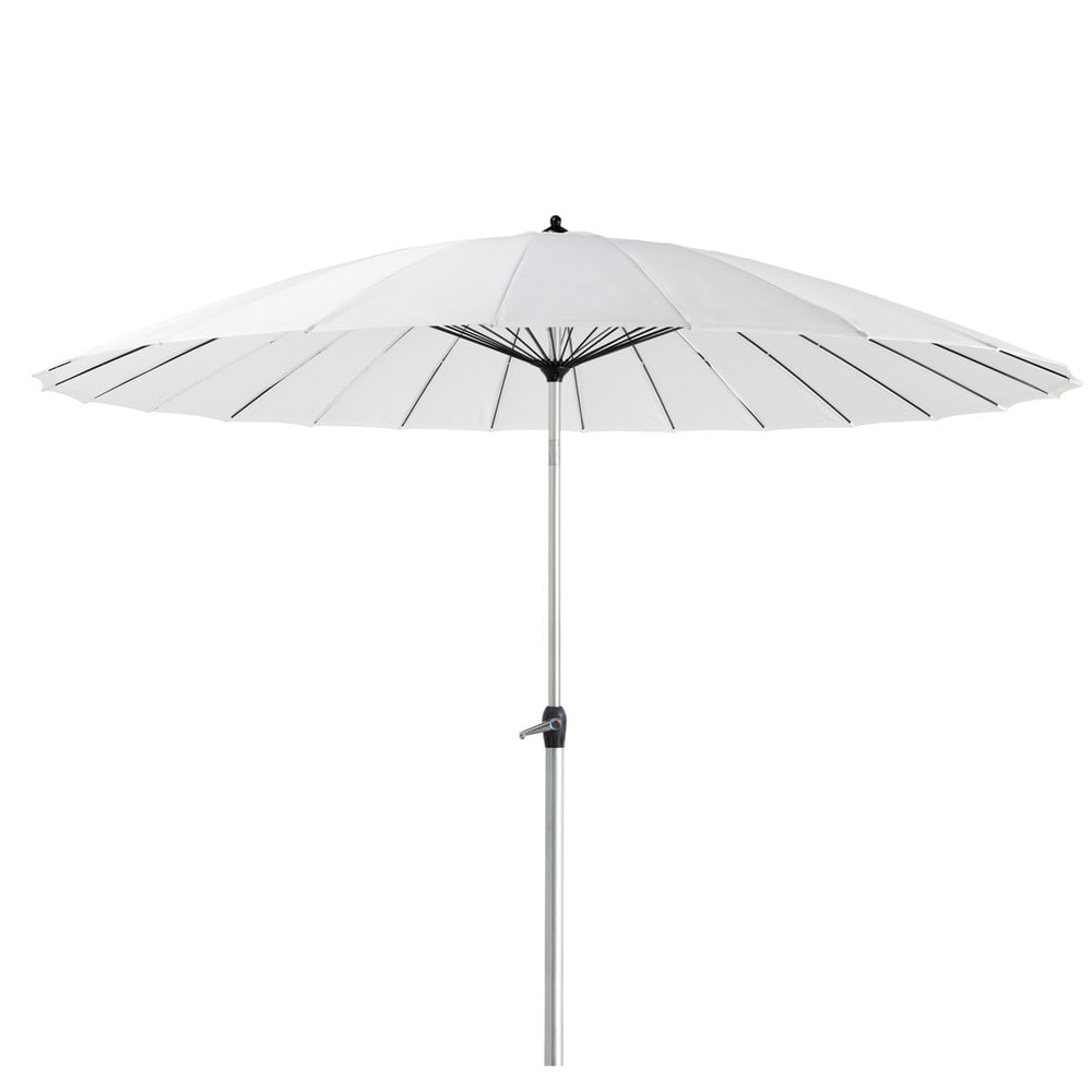 witte stoffen en aluminium parasol papaye maisons du monde. Black Bedroom Furniture Sets. Home Design Ideas