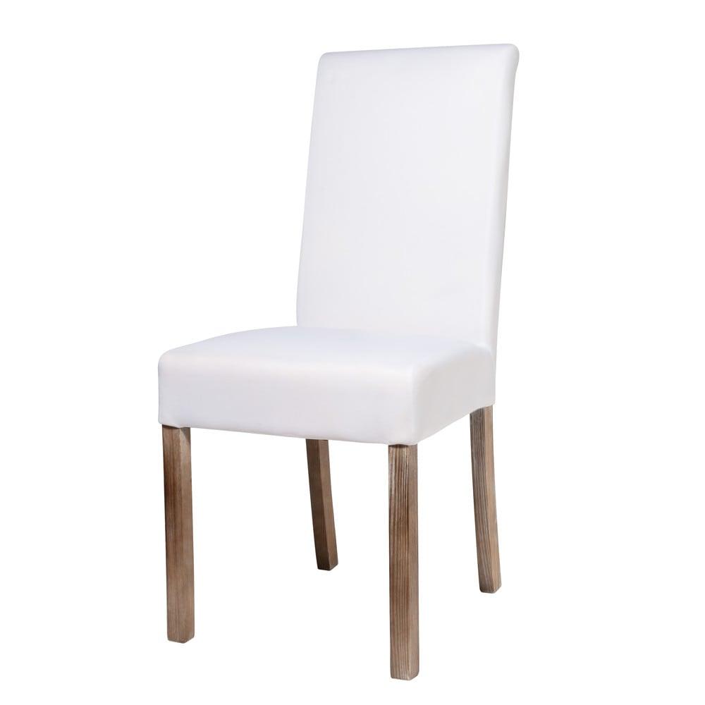 Witte stoffen en houten overtrekbare stoel margaux maisons du monde - Houten stoel eetkamer ...