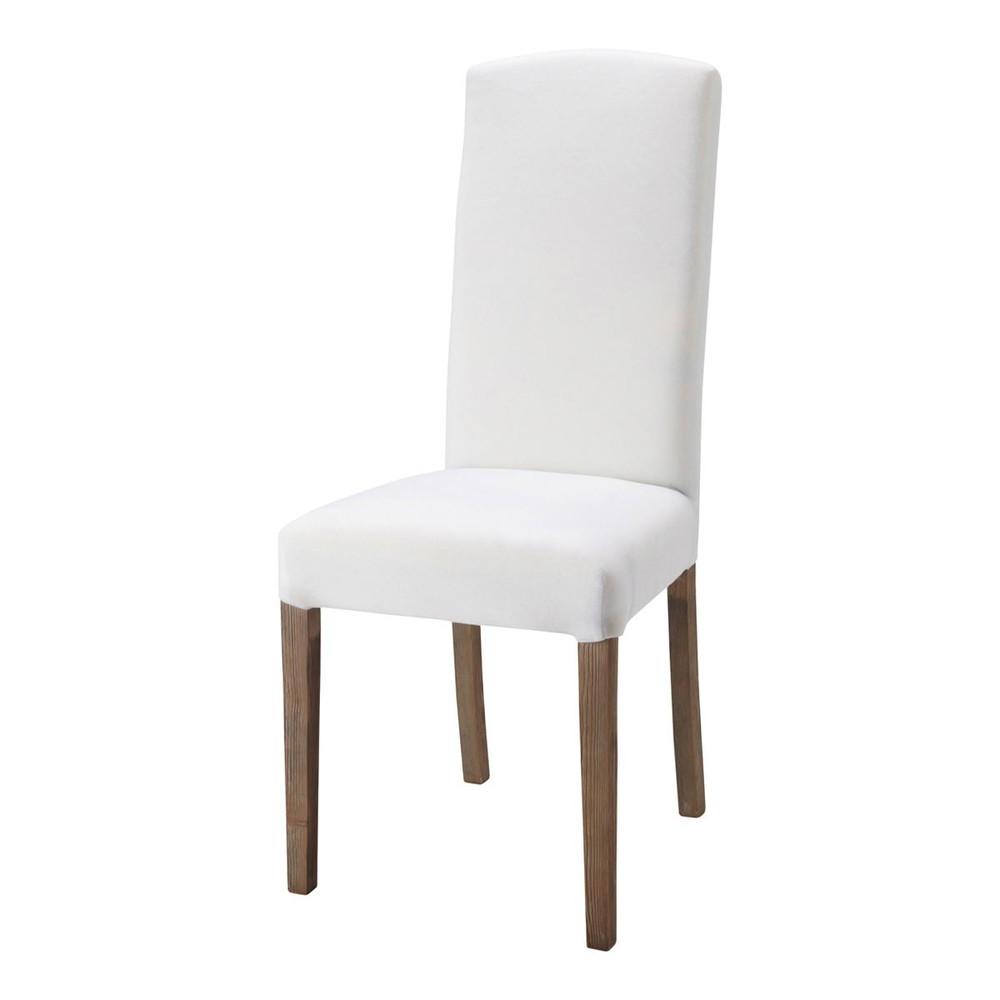 Witte stoffen en houten stoel alice maisons du monde - Houten stoel eetkamer ...