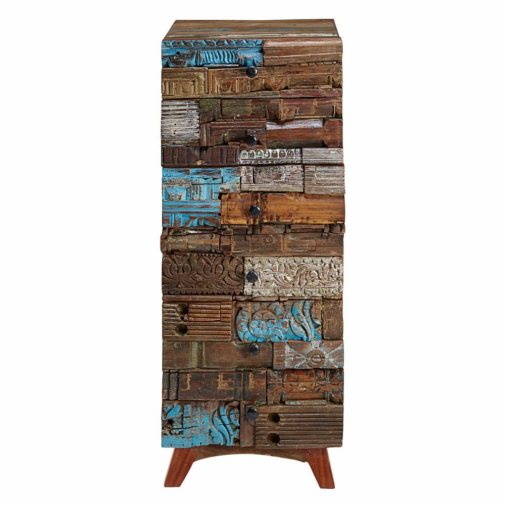wochenkommode mit 6 schubladen aus recyceltem holz gef rbt itza maisons du monde. Black Bedroom Furniture Sets. Home Design Ideas