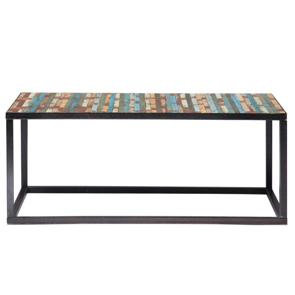 wood and metal coffee table multicoloured w 100cm bahia maisons du monde. Black Bedroom Furniture Sets. Home Design Ideas