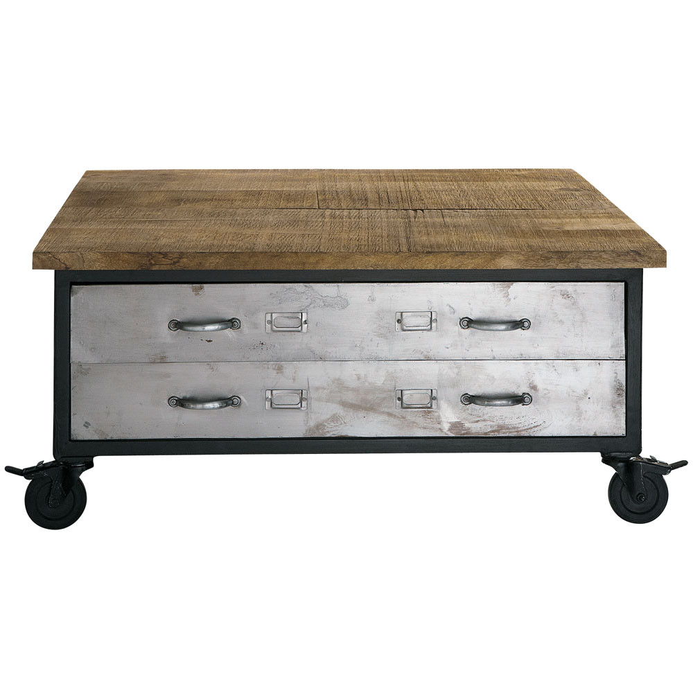 wood and metal coffee table on castors w 100cm franklin maisons du monde. Black Bedroom Furniture Sets. Home Design Ideas