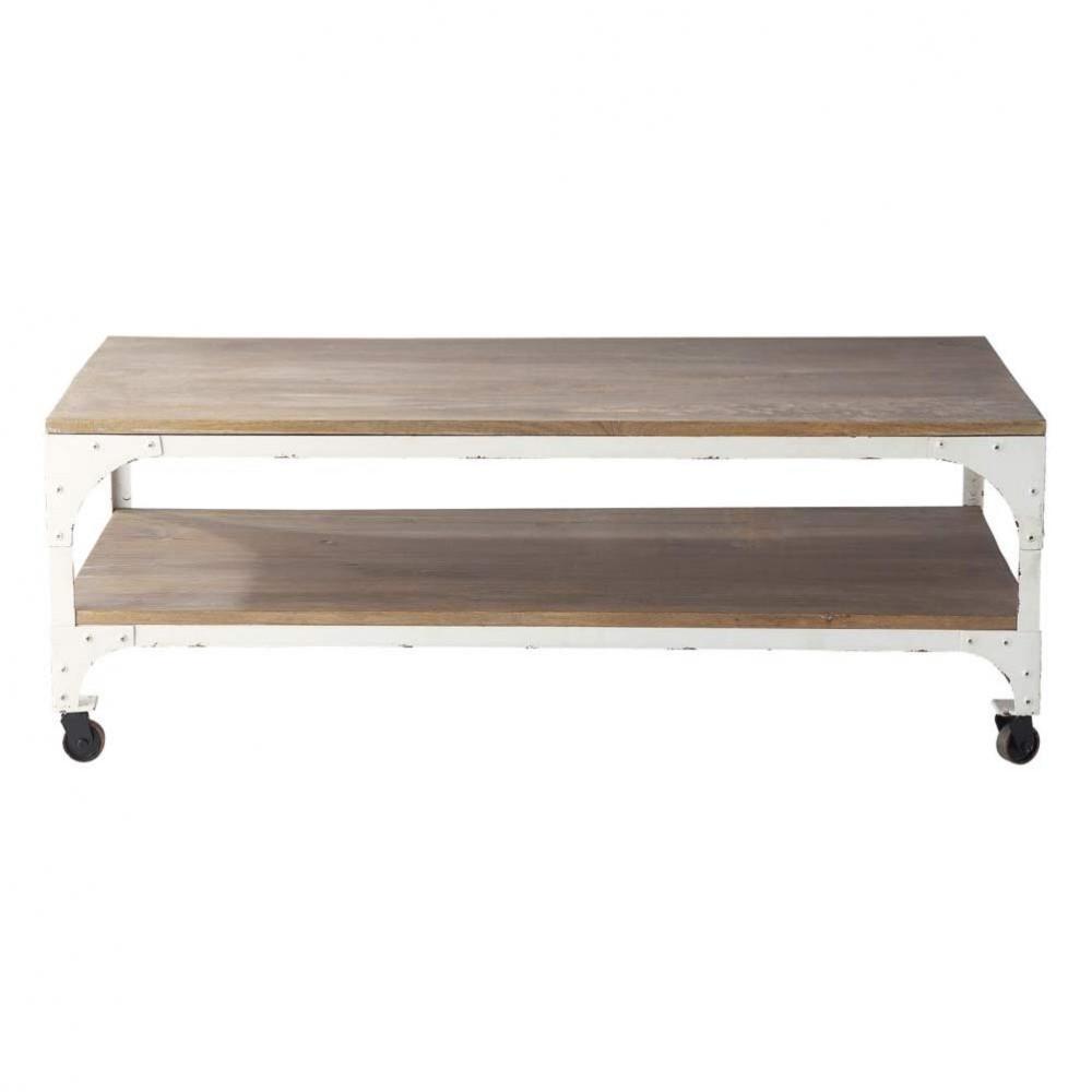 wood and metal coffee table on castors w 110cm arcachon maisons du monde. Black Bedroom Furniture Sets. Home Design Ideas
