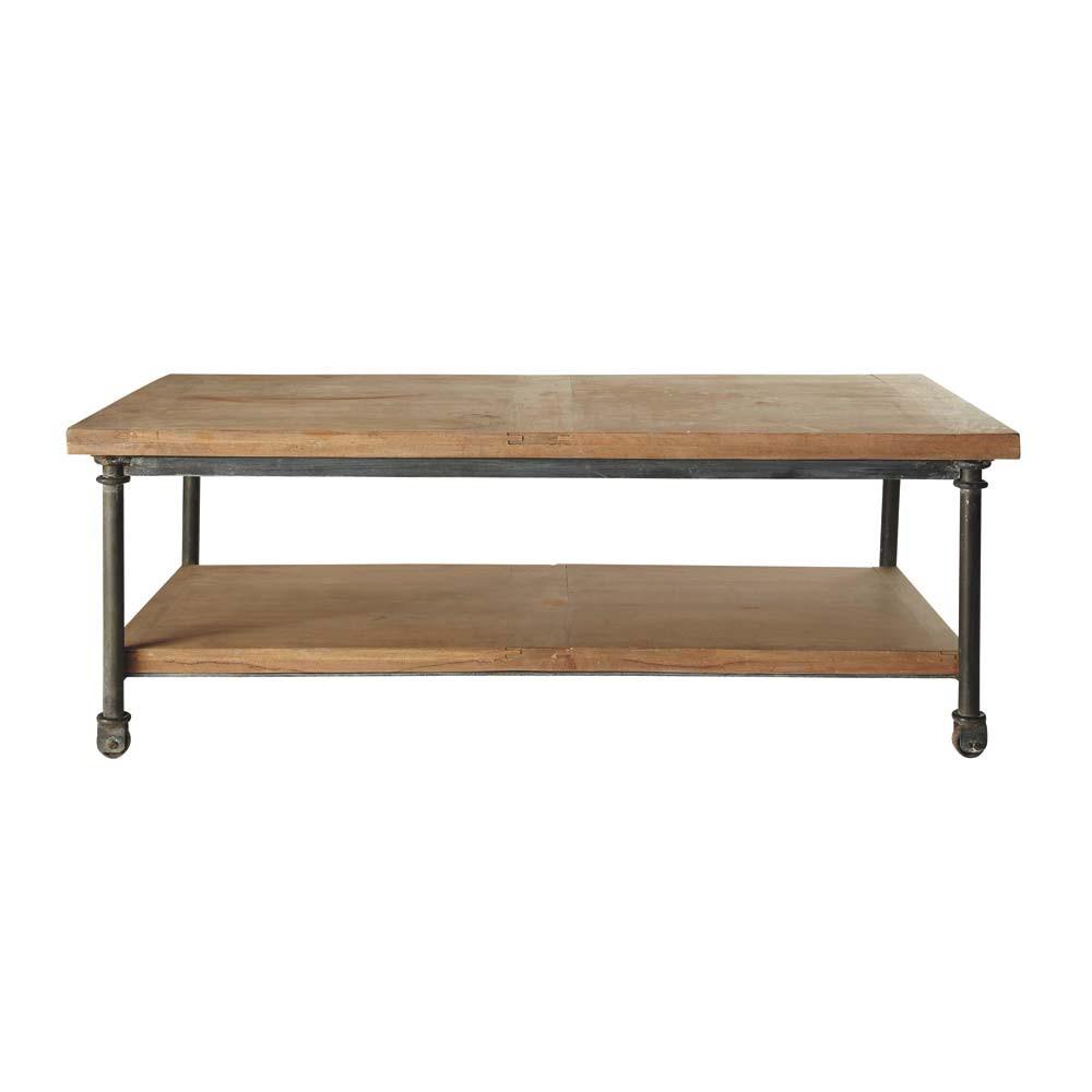 Wood And Metal Coffee Table On Castors W 135cm Archibald Maisons Du Monde