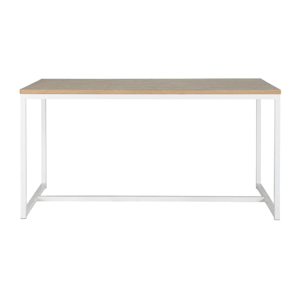 Wood and metal dining table in white w 150cm igloo for Maison de monde uk