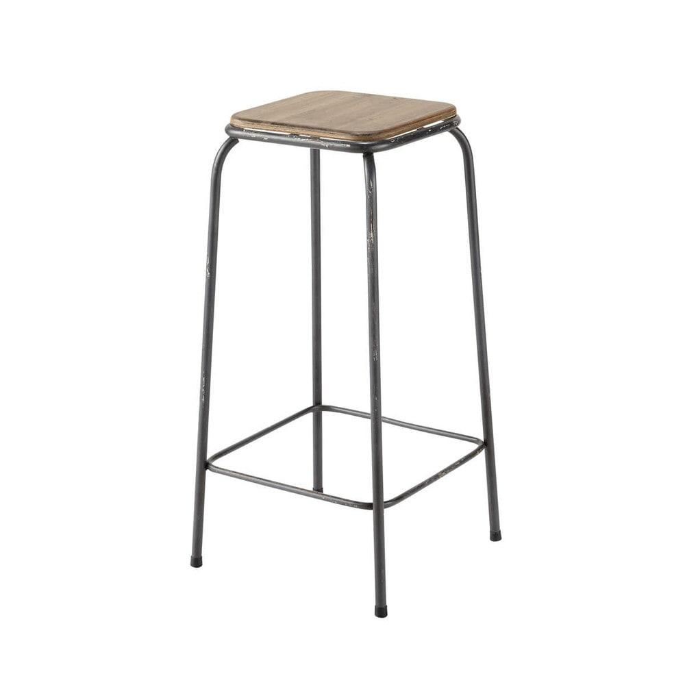 wood and metal industrial bar stool kraft maisons du monde