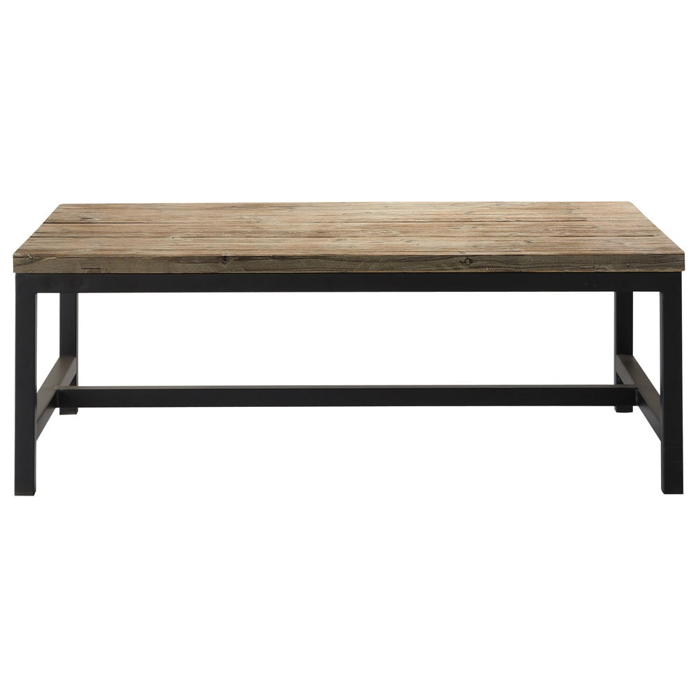 Wood and metal industrial coffee table w 100cm long island for Table basse maison du monde