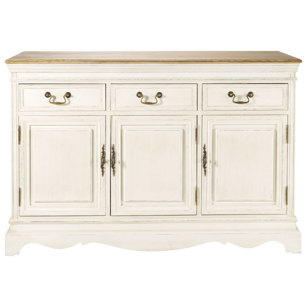 Wood sideboard in cream w 132cm l ontine maisons du monde for Meuble josephine maison du monde