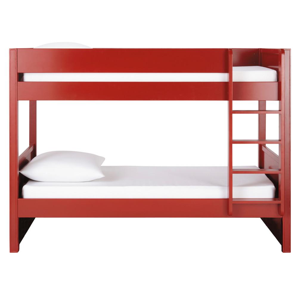 Wooden 90 x 190cm bunk beds in red Newport | Maisons du Monde