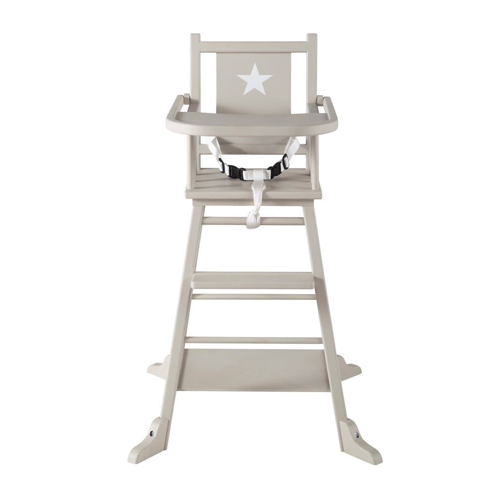 wooden baby 39 s high chair in taupe pastel maisons du monde. Black Bedroom Furniture Sets. Home Design Ideas