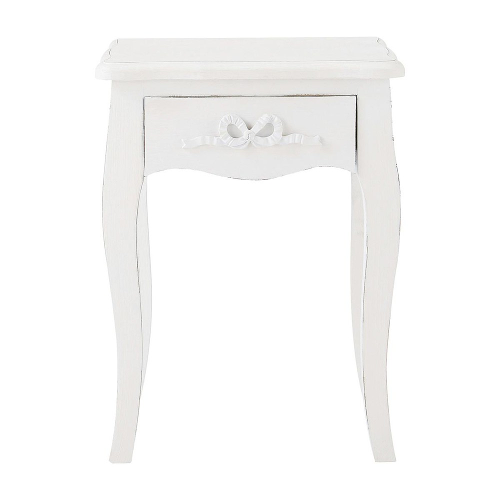Wooden Bedside Table With Drawer In White W 40cm Charlotte