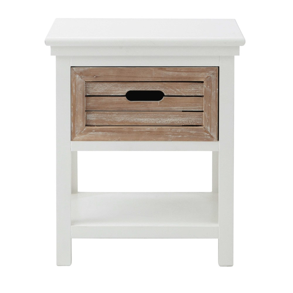 Wooden bedside table with drawer in white w 40cm ouessant - Table de nuit etagere ...