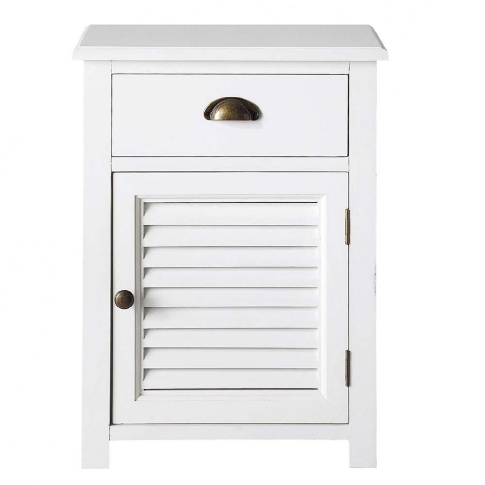 wooden bedside table with drawer in white w 45cm barbade maisons du monde