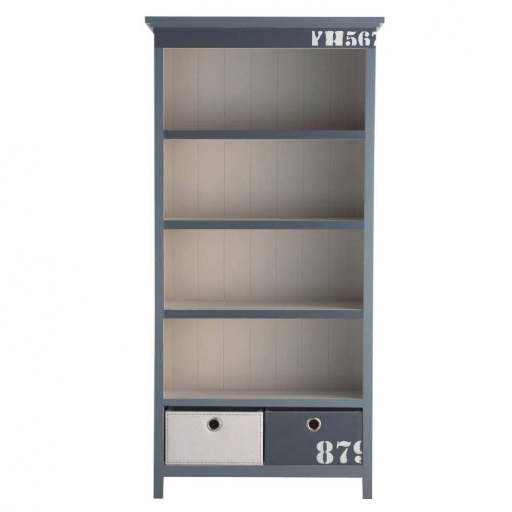Wooden Bookcase In Grey W 95cm Cargo Maisons Du Monde