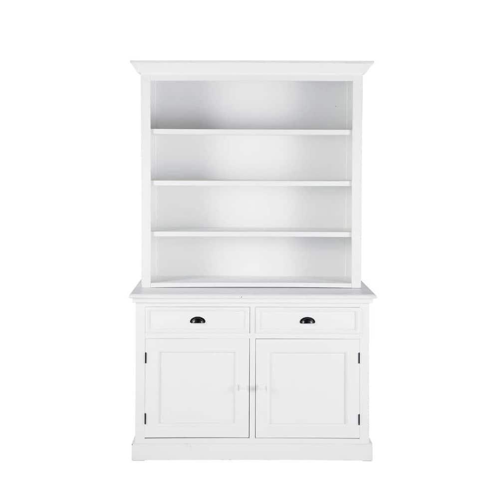 wooden bookcase in white w 130cm newport maisons du monde. Black Bedroom Furniture Sets. Home Design Ideas