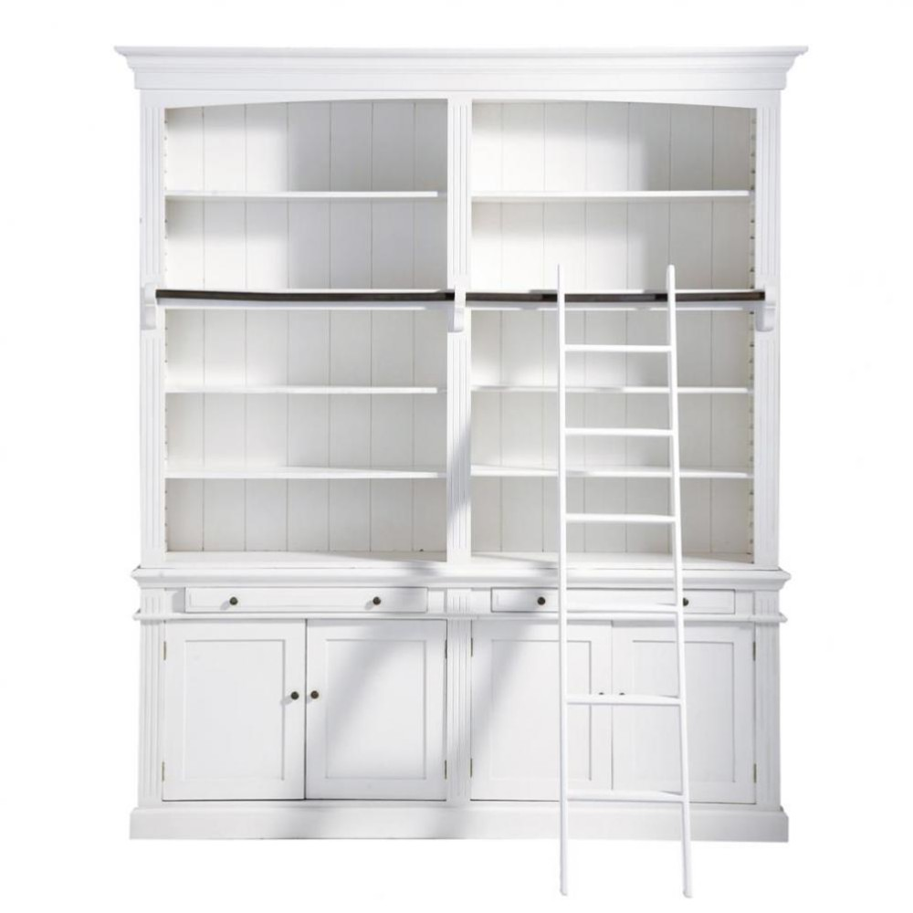Wooden bookcase with ladder in white w 200cm amandine for Bibliotheque meuble ikea