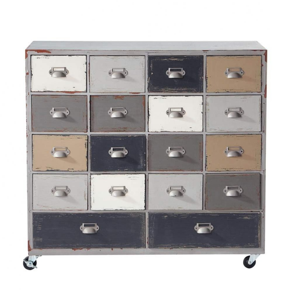 wooden cabinet on castors in grey w 85cm od on maisons du monde. Black Bedroom Furniture Sets. Home Design Ideas
