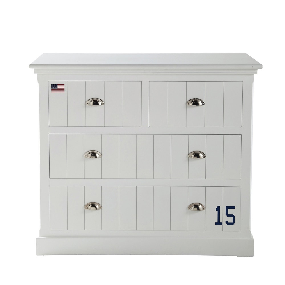 Wooden chest of drawers in white w 105cm princeton maisons du monde - Commode laquee blanche ...