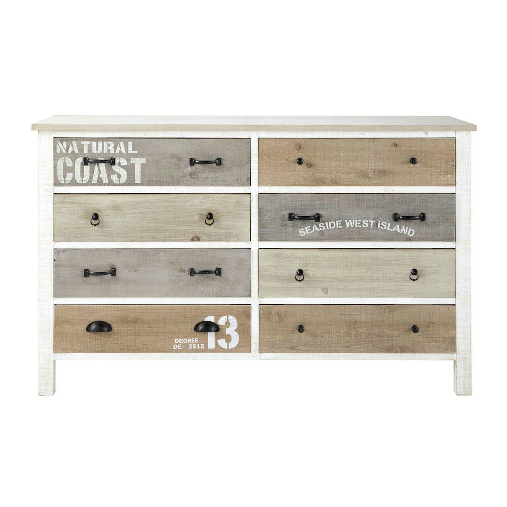 wooden chest of drawers in white w 140cm noirmoutier maisons du monde. Black Bedroom Furniture Sets. Home Design Ideas