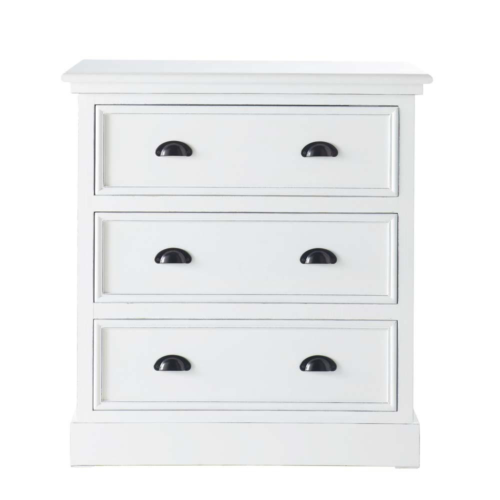 wooden chest of drawers in white w 80cm newport maisons. Black Bedroom Furniture Sets. Home Design Ideas