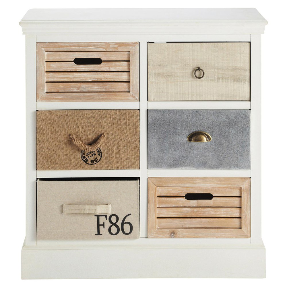 wooden chest of drawers in white w 80cm ouessant maisons. Black Bedroom Furniture Sets. Home Design Ideas